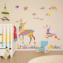 Removable Colorful Deer Series Glass Cabinet