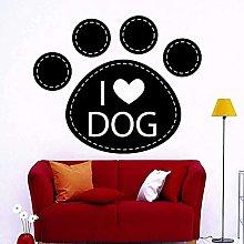 Removable Vinyl Wall Sticker Dog Paw Love I Love