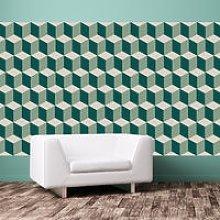 Retro 3D Cube Pattern Wall Art Mural Removable PVC Sticker - Walplus