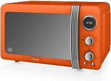 Retro 800W Digital Microwave Swan Colour: Orange