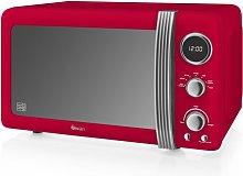 Retro 800W Digital Microwave Swan Colour: Red