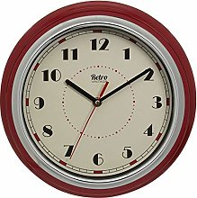 Retro American Diner Kitchen Red Wall Clock