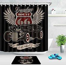 Retro American Hot Rod 66 Waterproof Fabric Shower