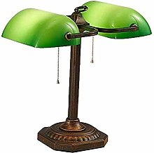 Retro Banker Office Desk lamp, Double Head Green
