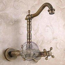 Retro Bathroom Double Handle Faucet.Wall Mounted