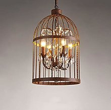 Retro bird cage lampshade E14 crystal pendant lamp