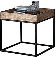 Retro Black Side Table, Wood End Table Nightstand