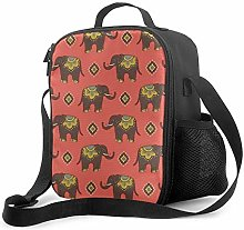 Retro Brown Elephants Pattern Lunch Bag Insulated