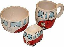 Retro Campervan Breakfast Set - Bowl Egg Cup & Mug