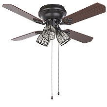 Retro Ceiling Fan with Light 3 Shades Pull Chain