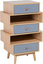Retro Chest 3 Drawers Side End Table Living Room