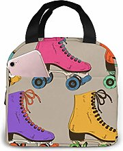 Retro Colorful Roller Skates Lunch Bag Reusable