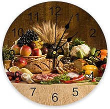Retro Country Style Fruit Food Wall Clock Bedroom