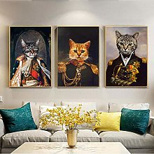 Retro Dog Cat Animal Oil Painting Canvas Painting
