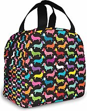 Retro Dogs Dachshund Insulated Lunch Bag Portable