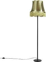 Retro Floor Lamp Black with 45cm Green Granny