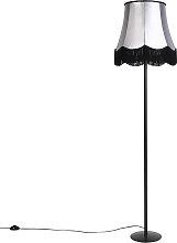 Retro Floor Lamp Black with 45cm Grey Granny Black