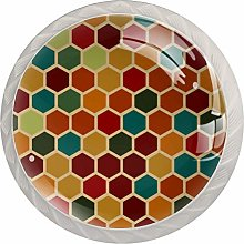 Retro Geometric Hexagon Pattern Drawer Knobs Pulls
