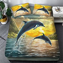 Retro Gold 3D Animal Dolphin Print Duvet Cover and