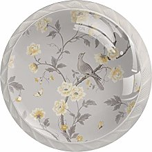 Retro Grey Birds and Yellow Floral Drawer Knobs
