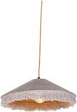 Retro hanging lamp beige velvet with frills -