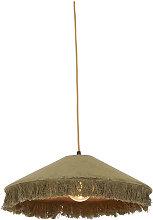 Retro hanging lamp green velvet with frills -