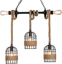 Retro Hemp Rope Pendant Light Vintage Industry