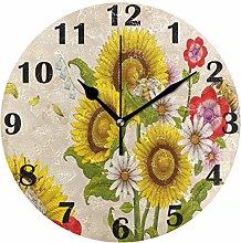 Retro Honey Bees Wall Clock Silent Non Ticking