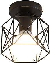 Retro Industrial Black Metal Cage Ceiling Light,