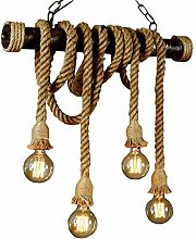 Retro Industrial Pendant Light Hemp Rope Pendant
