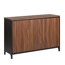 Retro Modern Sideboard Walnut with Black 3-Door