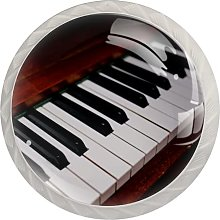 Retro Piano KeyRound Glass knob White Drawer
