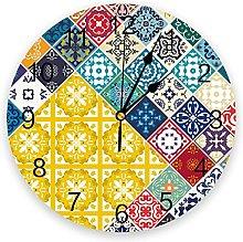 Retro PVC Wall Clock, Silent Non-Ticking Round