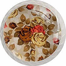Retro Roses Drawer Knobs Pulls Cabinet Handle for