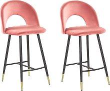 Retro Set of 2 Velvet Bar Chairs Coral Red Black
