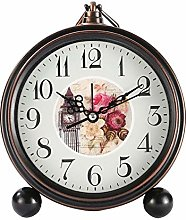 Retro Silent Alarm Clock Round Roman Numeral