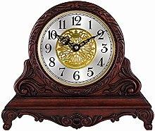 Retro Solid Wood Mantel Clock, Battery Powered