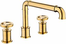 Retro Style Basin Faucet Gold Plated 3 Hole