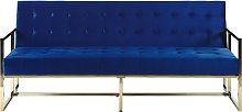 Retro Style Sofa Bed Gold Metal Frame Tufted