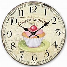 Retro Style Wall Clock Pink Cherry Cupcake Home