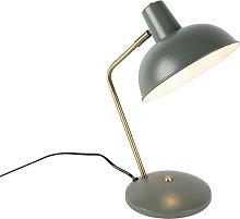 Retro table lamp gray with bronze - Milou