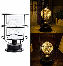 Retro Table Lamp Metal Cage Light Shade Vintage