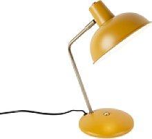Retro table lamp yellow with bronze - Milou