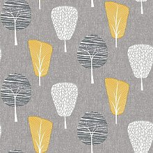 Retro Tree Grey Mustard Yellow Ochre Nature
