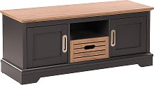Retro TV Cabinet 2 Door Stand Grey with Light Wood