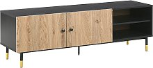 Retro TV Stand Cabinet Shelves Doors for