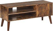 Retro TV Unit Cabinet 2 Shelves Dark Wood Living