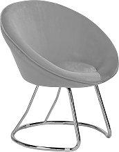 Retro Velvet Accent Chair Grey Upholstery Round