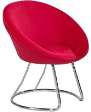 Retro Velvet Accent Chair Red Upholstery Round
