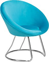 Retro Velvet Accent Chair Turquoise Blue